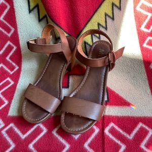 Brown chunky strap heels